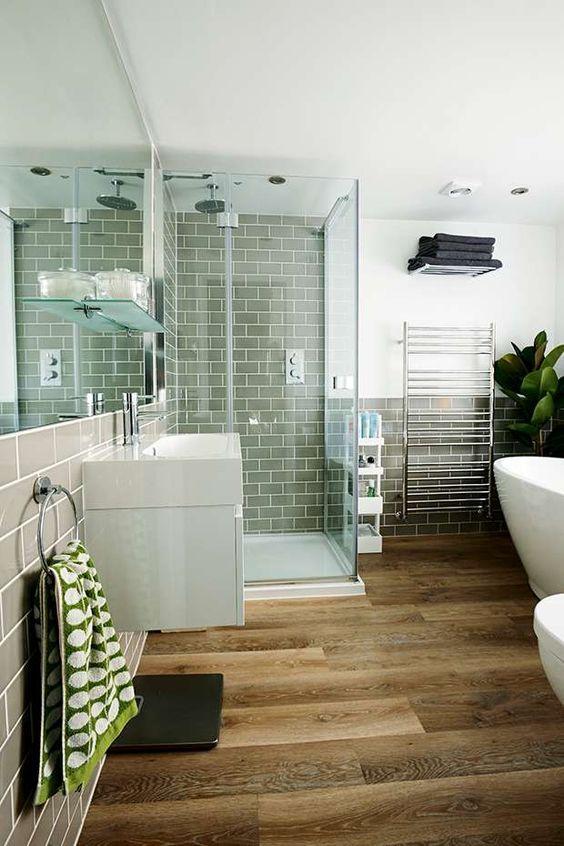 Contemporary Bathroom Wooden Floor