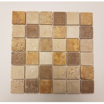 Mixed Tumbled Travertine Mosaic