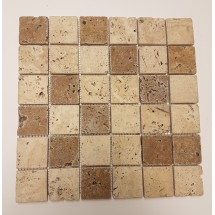 Light Noce Tumbled Travertine Mosaic