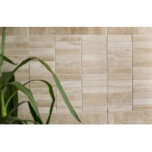 Ivory Vein-Cut Filled & Polished Travertine Mosaic