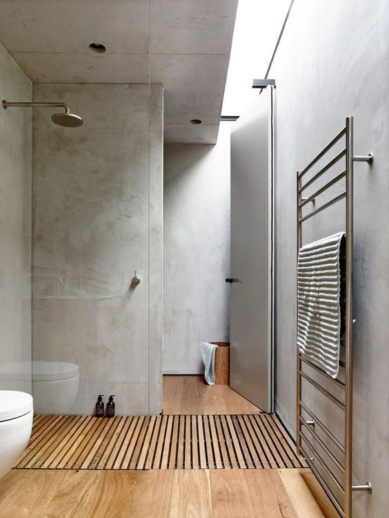 Contemporary Bathroom Wooden Floor