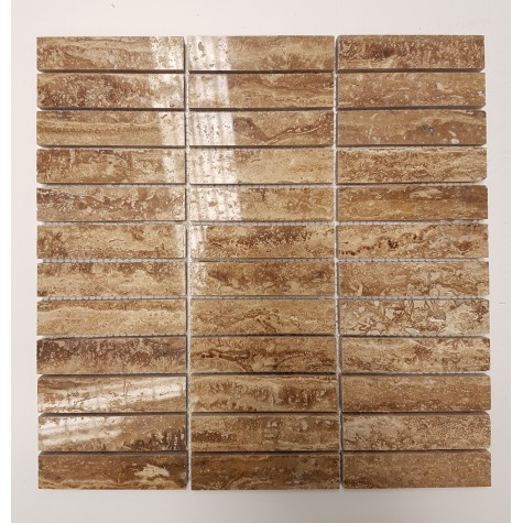 Noce Vein-Cut Filled & Polished Travertine Mosaic