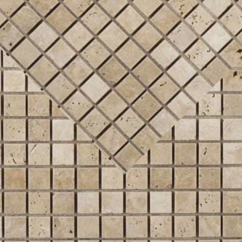 Classic Light Tumbled & Unfilled Travertine Mosaic